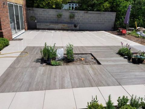 High end patio using Marshall's porcelain slabs
