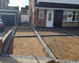 Concrete and Block driveway construction