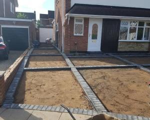 Concrete and Block driveway construction