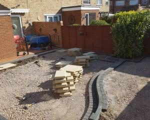 "Split level, two tone ""Torver Paving"" patio construction"